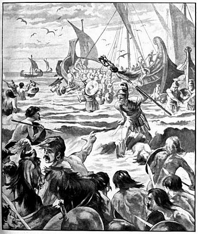 Landing of the Romans on the Coast of Kent - from Cassell's History of England, Vol. I - anonymous author and artists