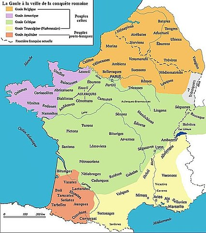 According to Strabo; the Belgian tribes (in orange) including the Armoricani (in purple)