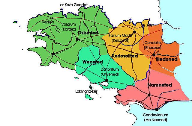 Map of the Gallic people of modern Brittany:   Osismii   Veneti   Coriosolites   Redones   Namnetes   Non-Gallic