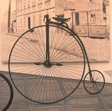 A penny-farthing or ordinary bicycle photographed in the Škoda Auto museum in the Czech Republic