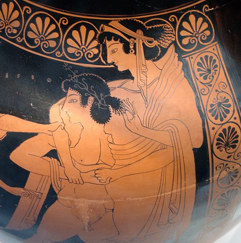 Theseus carries off Helen, on an Attic red-figure amphora, c. 510 BCE (Euthymides)